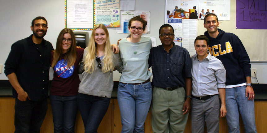 DIYnamics members and volunteers during visit to La Tijera K–8 School. From left to right: EPSS graduate students Sean Faulk and Ashley Schoenfeld; UCLA undergraduates Alex Arnold and Ellen Hoppe; La Tijera science teacher Dr. Maurice Stephenson; and postdoctoral fellows Juan Lora and Spencer Hill.