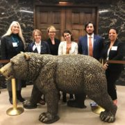 The UCLA delegation at the governor's office during UC Graduate Research Advocacy Day. Left to right: Associate Graduate Dean Susan Ettner, graduate student Chelsea Shover, Dean of the Graduate Division and Vice Provost for Graduate Education Robin Garrell, graduate student Leslie Rith-Najarian, Gonzalez, and graduate student Stephanie Keeney-Parks.