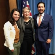 Gonzalez (right) and fellow UCLA graduate student Leslie Rith-Najarian with UC President Janet Napolitano.