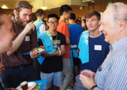 Professor of Physics & Astronomy Ian McLean (right) talks with first-year Physical Sciences students at the 2018 Welcome to Physical Sciences event reception