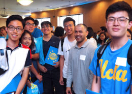 Jorge Torres (second from right), professor of Chemistry & Biochemistry, with first-year Physical Sciences students at the 2018 Welcome to Physical Sciences event reception