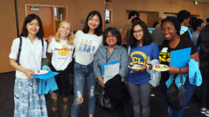UCLA mathematics alumna Carmen Mercado (third from right) with first-year Physical Sciences students at the 2018 Welcome to Physical Sciences event reception