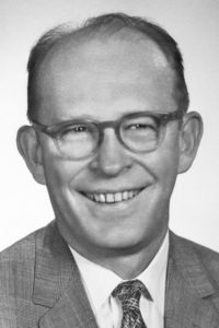 A black and white photo of Willard Libby, Nobel Prize winner in chemistry and professor at UCLA.