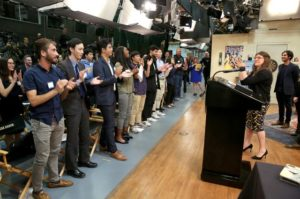Big Bang Theory cast and UCLA students join in an 8-clap