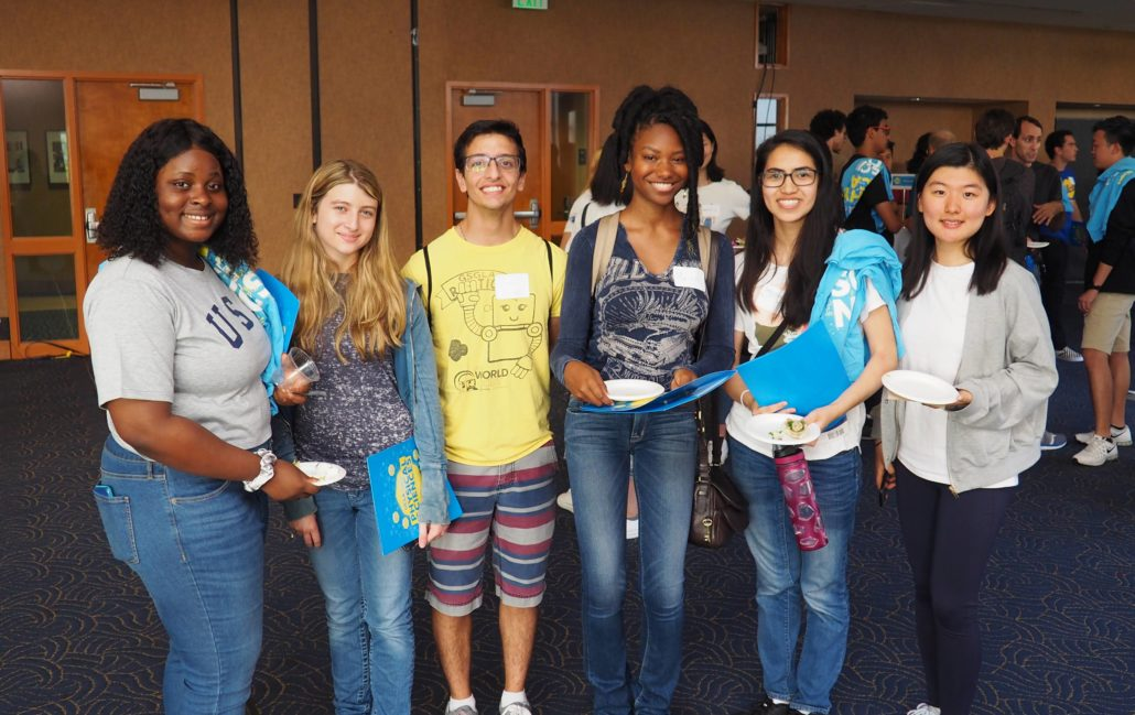 A group of new UCLA students at welcome event